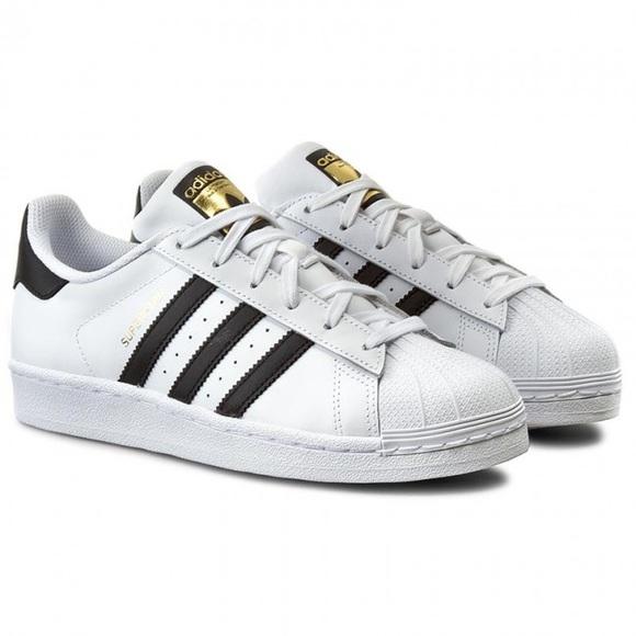 adidas superstar j white/ black stripes